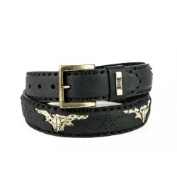 Mayura Belt in Black Vacuno...