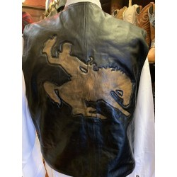 Mens leder vest Bucking cowboy