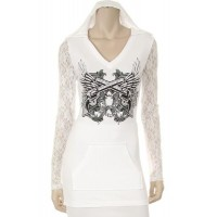 Western Hoody top lace white
